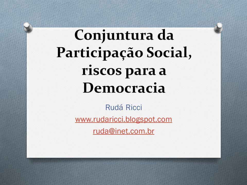 Conjuntura da Participação Social, riscos para a Democracia Rudá Ricci www.rudaricci.blogspot.com ruda@inet.com.br