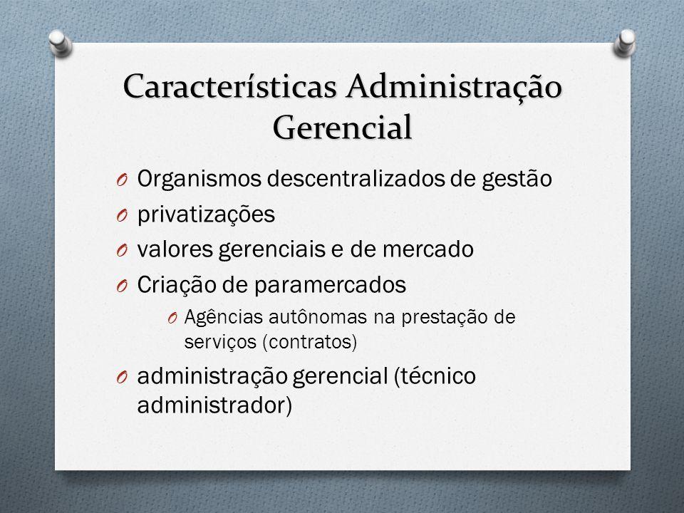 Características Administração Gerencial O Organismos descentralizados de gestão O privatizações O valores gerenciais e de mercado O Criação de paramer