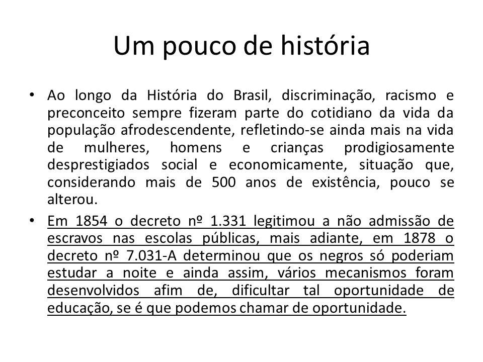 Um pouco de história Ao longo da História do Brasil, discriminação, racismo e preconceito sempre fizeram parte do cotidiano da vida da população afrod