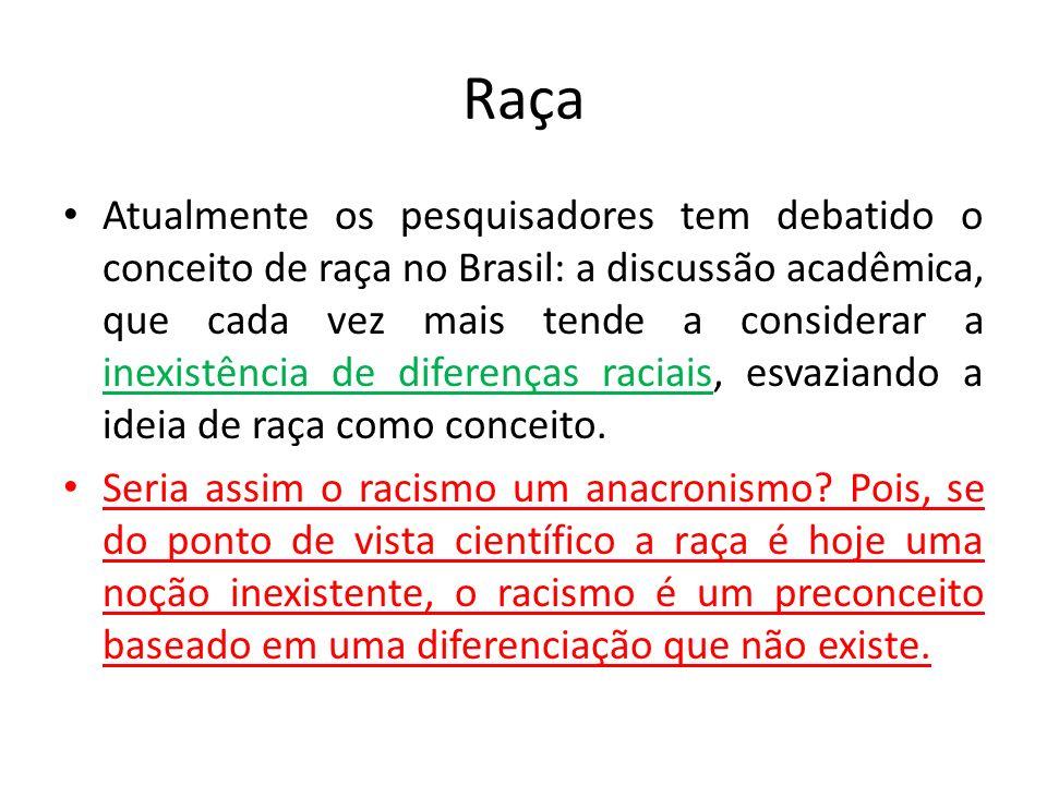 Raça Atualmente os pesquisadores tem debatido o conceito de raça no Brasil: a discussão acadêmica, que cada vez mais tende a considerar a inexistência de diferenças raciais, esvaziando a ideia de raça como conceito.