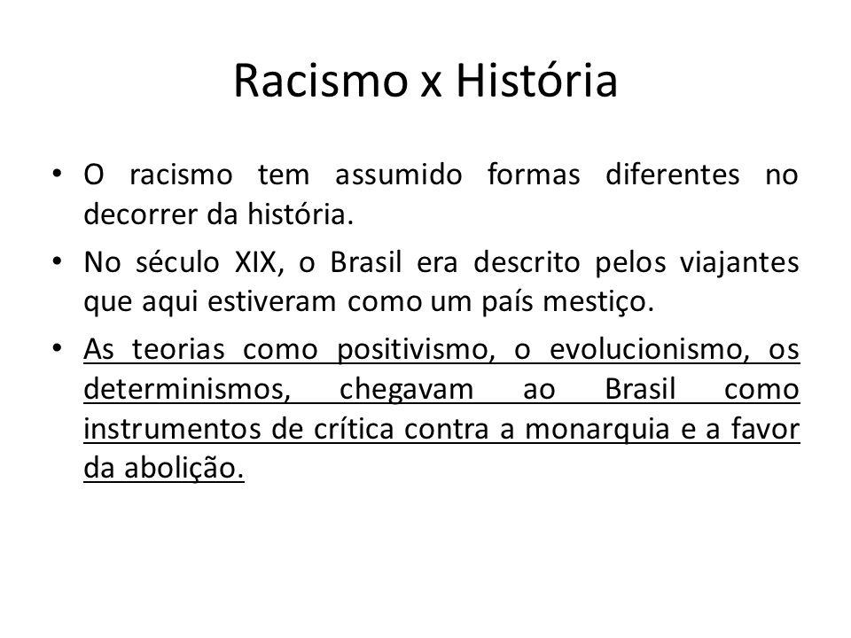 Racismo x História O racismo tem assumido formas diferentes no decorrer da história. No século XIX, o Brasil era descrito pelos viajantes que aqui est