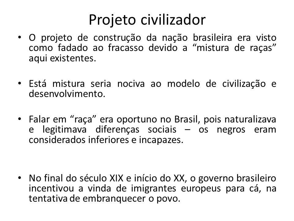 Projeto civilizador O projeto de construção da nação brasileira era visto como fadado ao fracasso devido a mistura de raças aqui existentes. Está mist