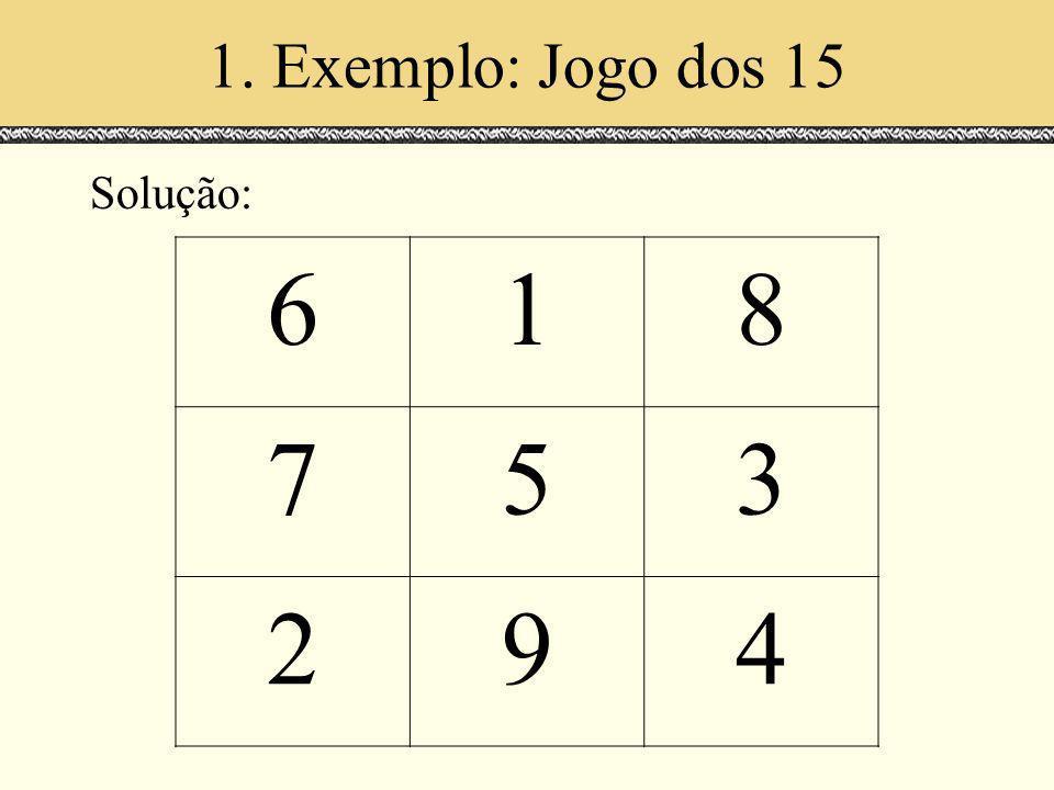 1. Exemplo: Jogo dos 15 Solução: 618 753 294