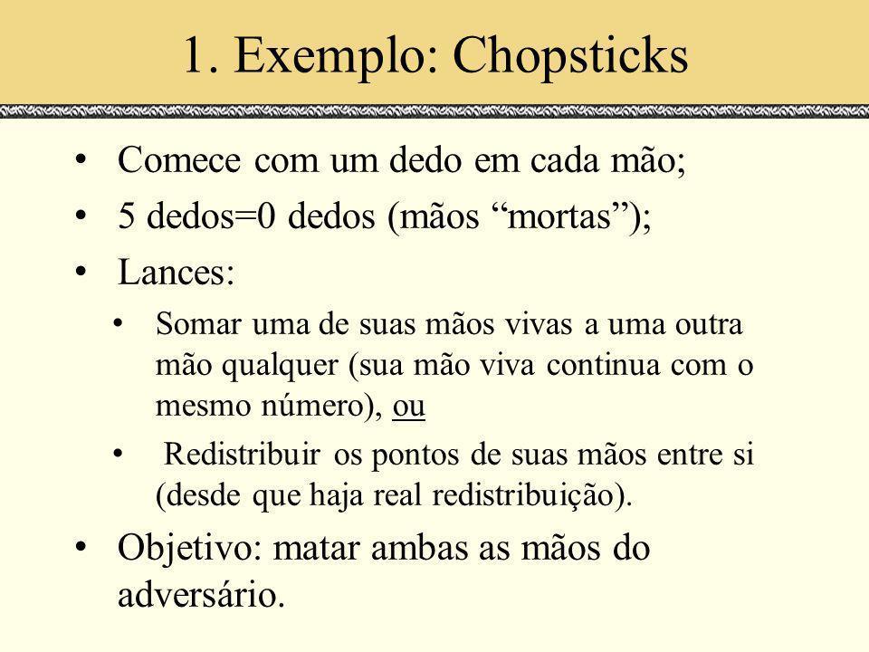1. Exemplo: Chopsticks Comece com um dedo em cada mão; 5 dedos=0 dedos (mãos mortas); Lances: Somar uma de suas mãos vivas a uma outra mão qualquer (s