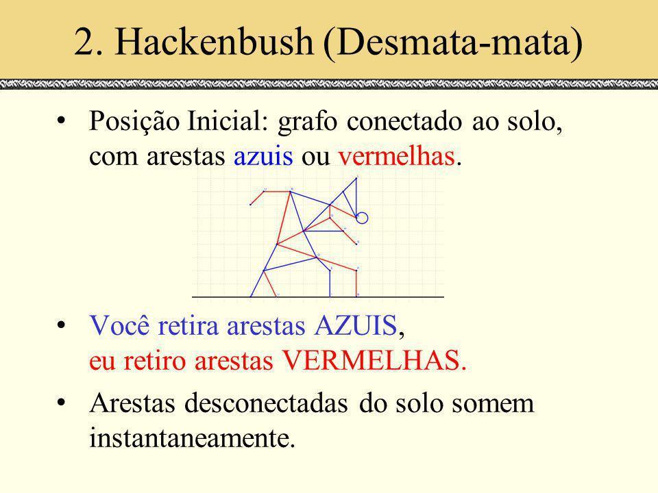 2. Hackenbush (Desmata-mata) Posição Inicial: grafo conectado ao solo, com arestas azuis ou vermelhas. Você retira arestas AZUIS, eu retiro arestas VE
