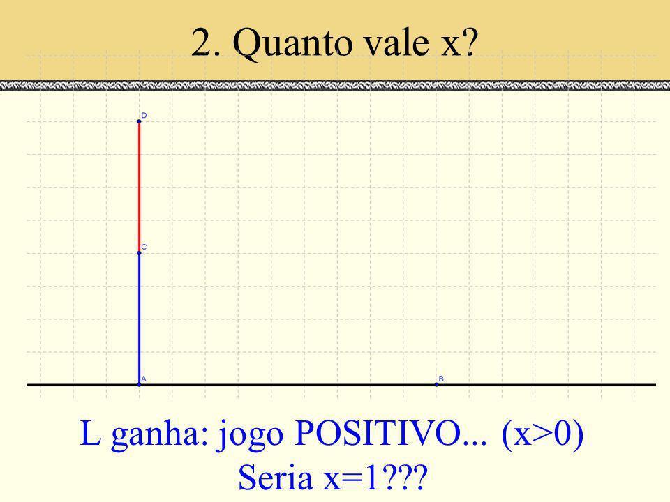 2. Quanto vale x? L ganha: jogo POSITIVO... (x>0) Seria x=1???