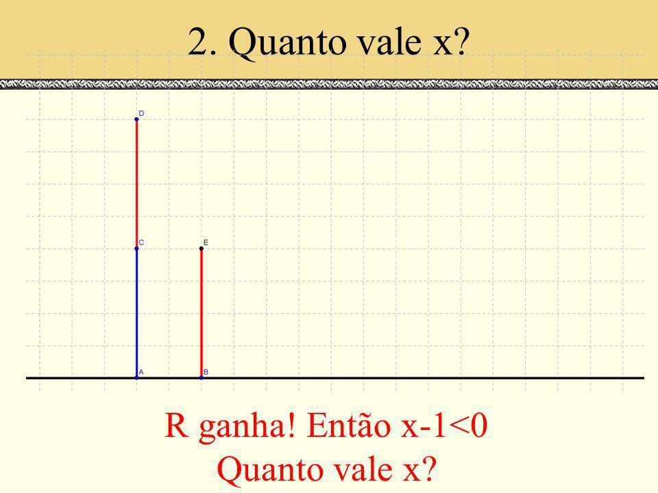 2. Quanto vale x? R ganha! Então x-1<0 Quanto vale x?