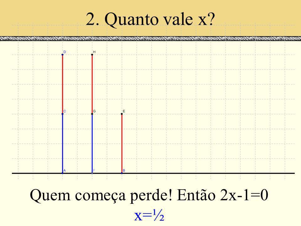 2. Quanto vale x? Quem começa perde! Então 2x-1=0 x=½