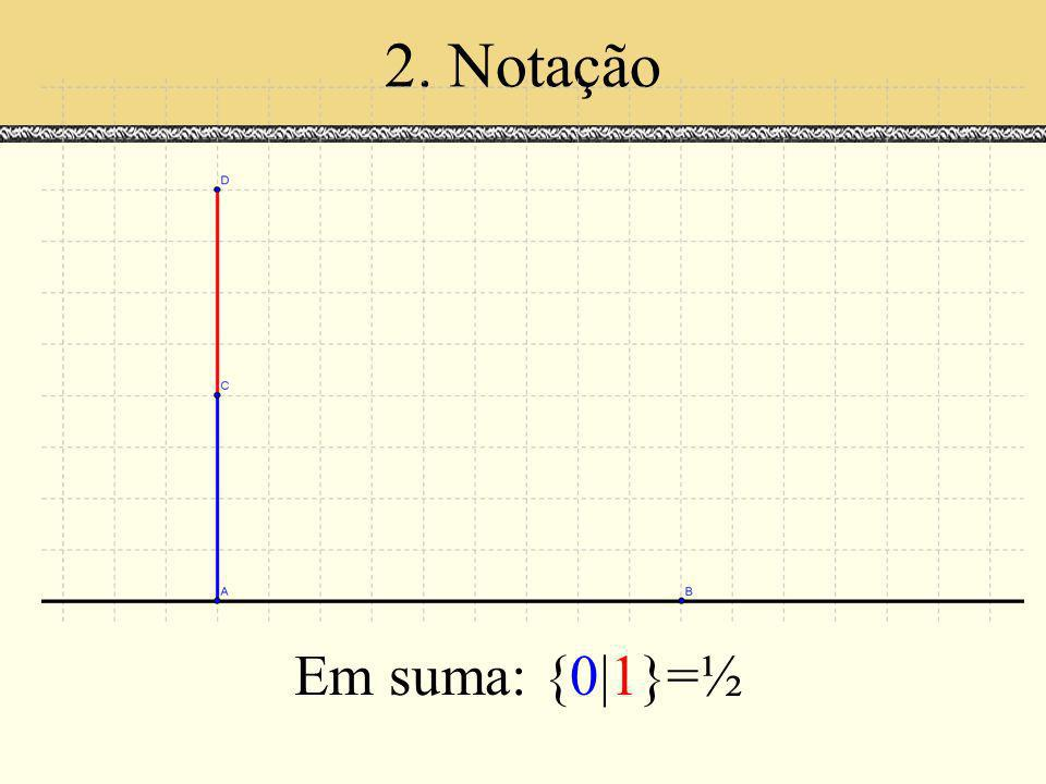 2. Notação Em suma: {0|1}=½