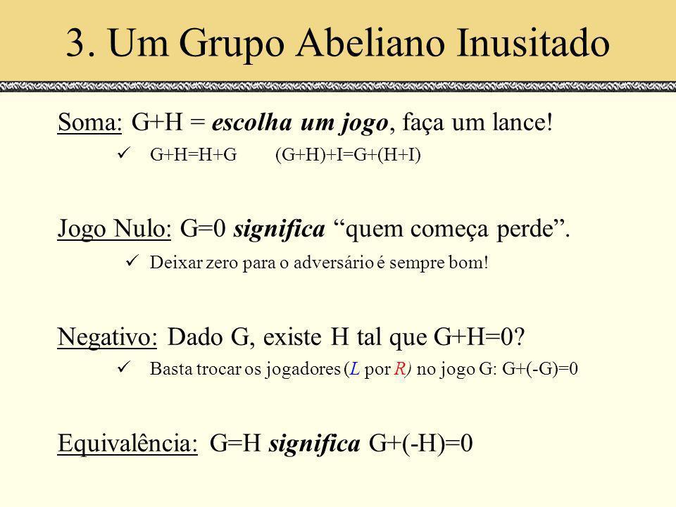 3. Um Grupo Abeliano Inusitado Soma: G+H = escolha um jogo, faça um lance! G+H=H+G(G+H)+I=G+(H+I) Jogo Nulo: G=0 significa quem começa perde. Deixar z