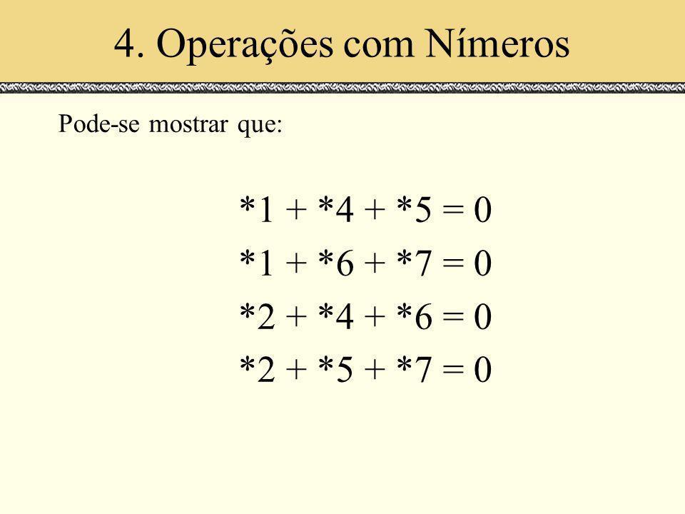 4. Operações com Nímeros Pode-se mostrar que: *1 + *4 + *5 = 0 *1 + *6 + *7 = 0 *2 + *4 + *6 = 0 *2 + *5 + *7 = 0