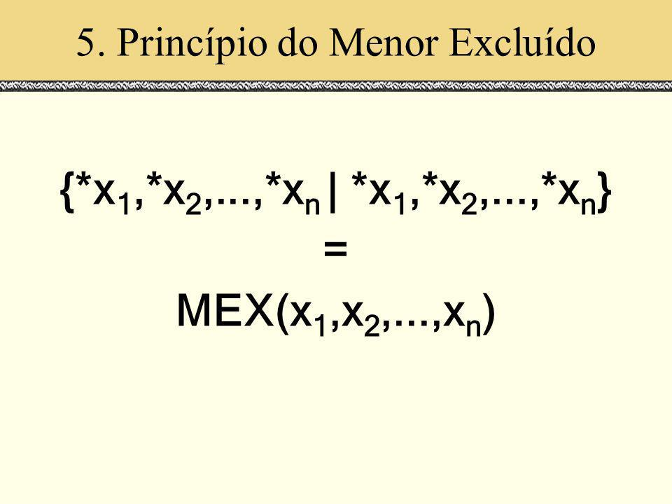 5. Princípio do Menor Excluído {*x 1,*x 2,...,*x n | *x 1,*x 2,...,*x n } = MEX(x 1,x 2,...,x n )