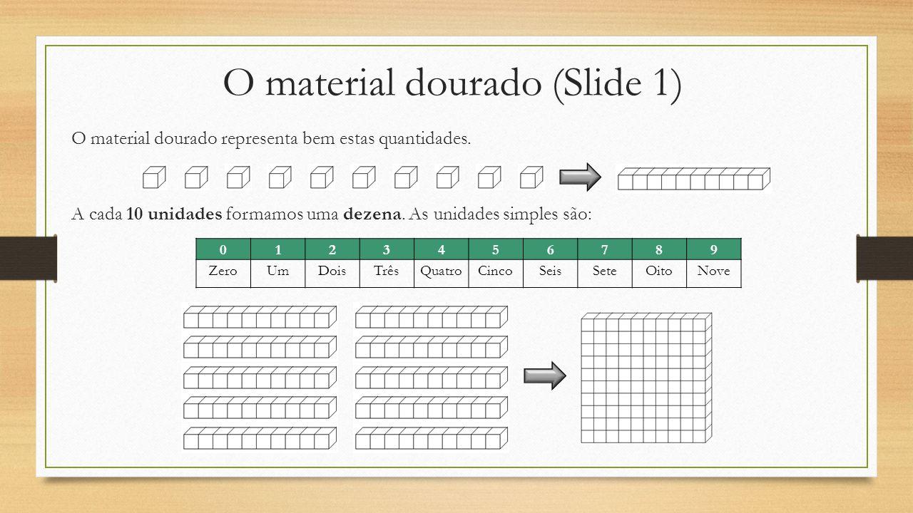 O material dourado (Slide 1) O material dourado representa bem estas quantidades. A cada 10 unidades formamos uma dezena. As unidades simples são: 012