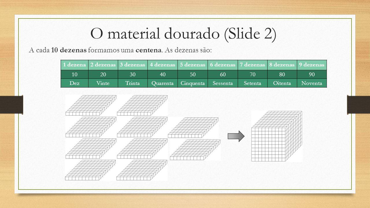 O material dourado (Slide 2) A cada 10 dezenas formamos uma centena. As dezenas são: 1 dezena2 dezenas3 dezenas4 dezenas5 dezenas6 dezenas7 dezenas8 d
