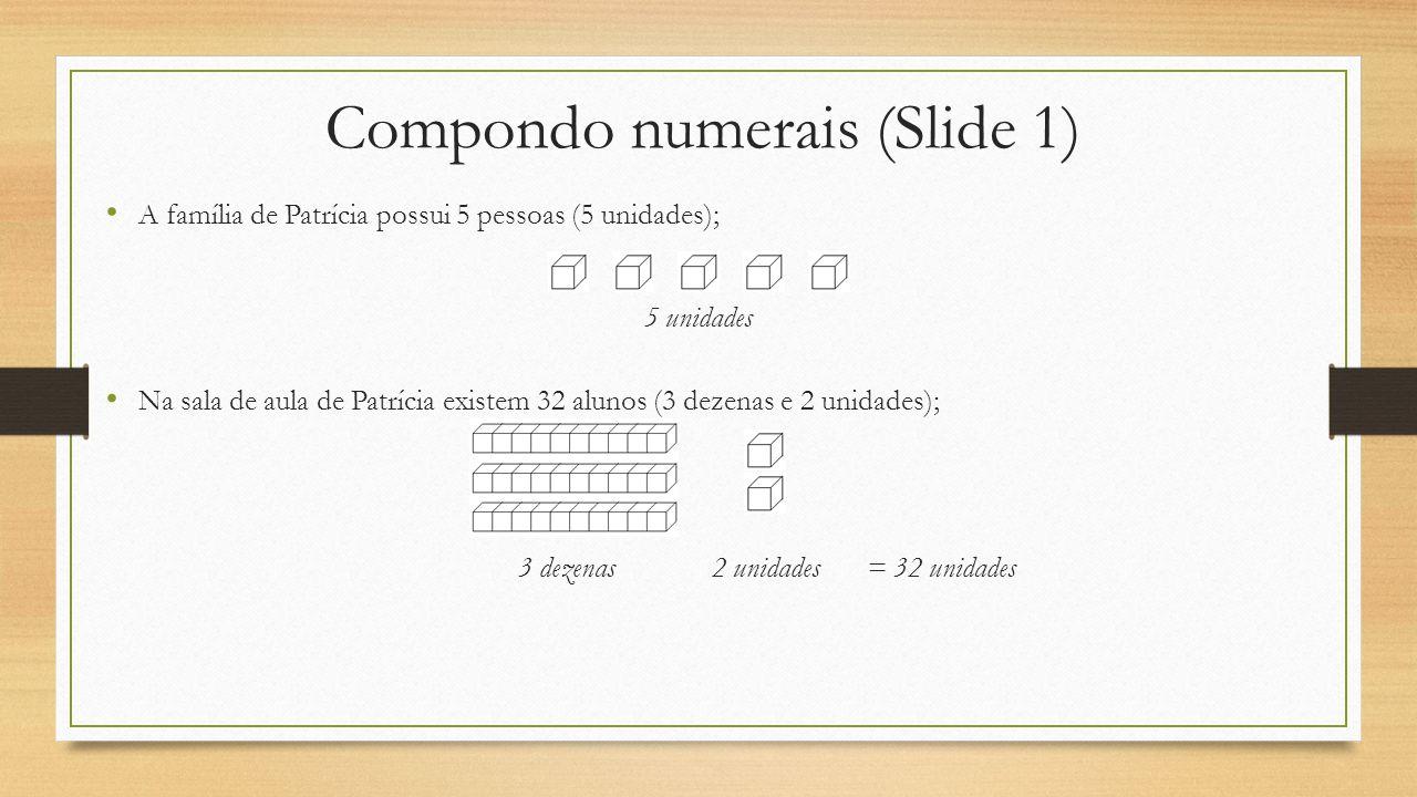 Compondo numerais (Slide 1) A família de Patrícia possui 5 pessoas (5 unidades); 5 unidades Na sala de aula de Patrícia existem 32 alunos (3 dezenas e 2 unidades); 3 dezenas2 unidades = 32 unidades