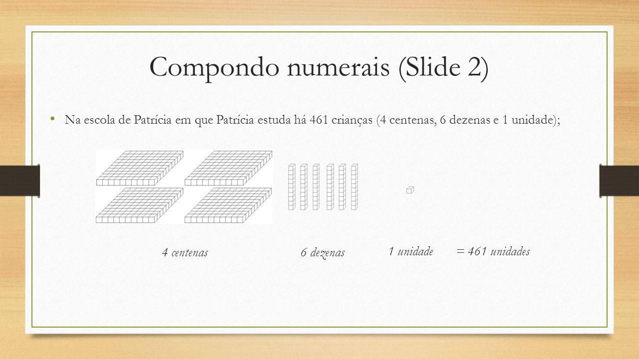 Compondo numerais (Slide 2) 6 dezenas 1 unidade= 461 unidades Na escola de Patrícia em que Patrícia estuda há 461 crianças (4 centenas, 6 dezenas e 1 unidade); 4 centenas