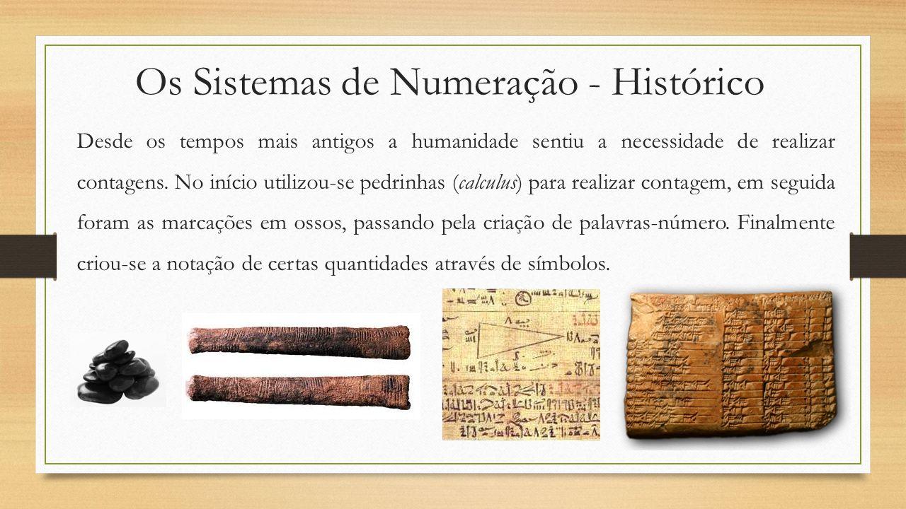 Os Sistemas de Numeração - Histórico Desde os tempos mais antigos a humanidade sentiu a necessidade de realizar contagens. No início utilizou-se pedri