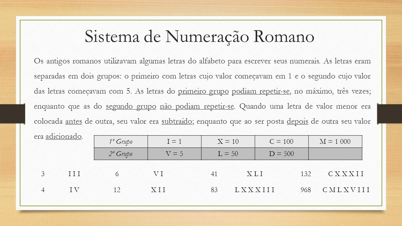 Sistema de Numeração Romano Os antigos romanos utilizavam algumas letras do alfabeto para escrever seus numerais. As letras eram separadas em dois gru