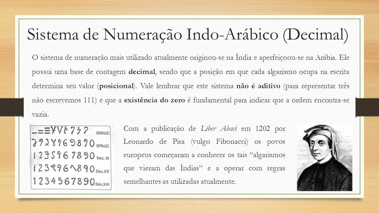 Sistema de Numeração Indo-Arábico (Decimal) O sistema de numeração mais utilizado atualmente originou-se na Índia e aperfeiçoou-se na Arábia.