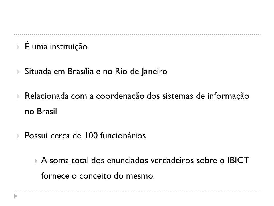 É uma instituição Situada em Brasília e no Rio de Janeiro Relacionada com a coordenação dos sistemas de informação no Brasil Possui cerca de 100 funci