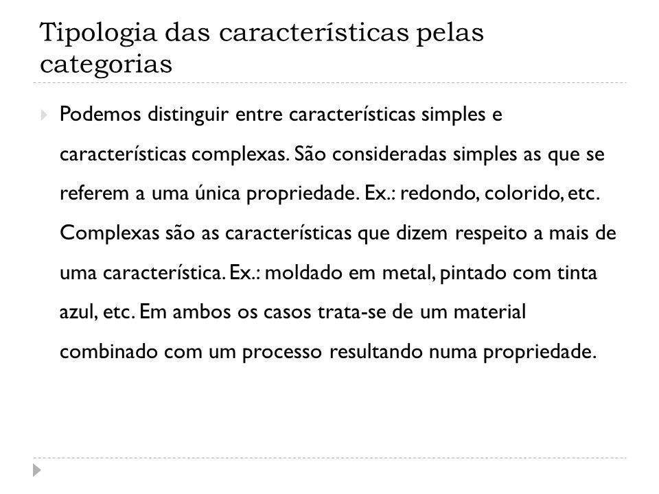 Tipologia das características pelas categorias Podemos distinguir entre características simples e características complexas. São consideradas simples