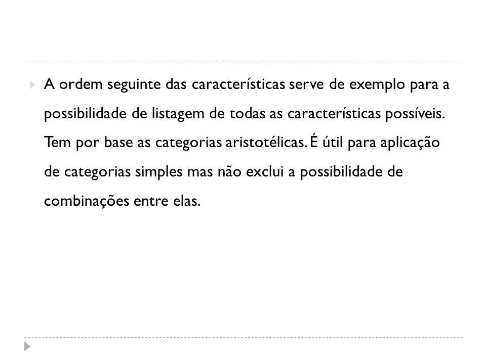 A ordem seguinte das características serve de exemplo para a possibilidade de listagem de todas as características possíveis. Tem por base as categori