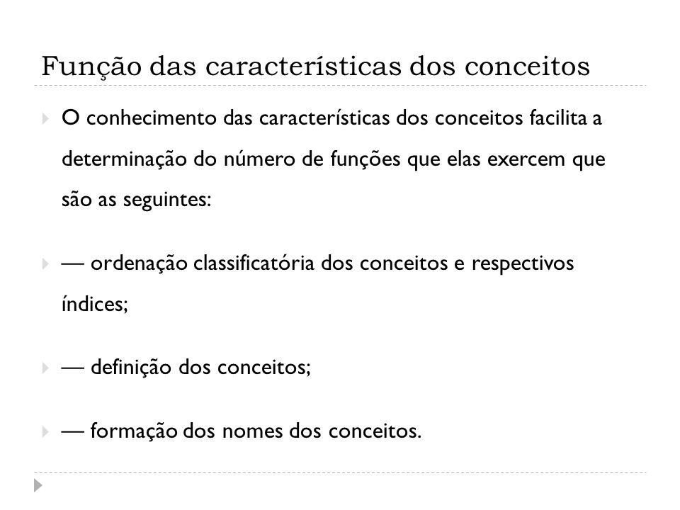 Função das características dos conceitos O conhecimento das características dos conceitos facilita a determinação do número de funções que elas exerce