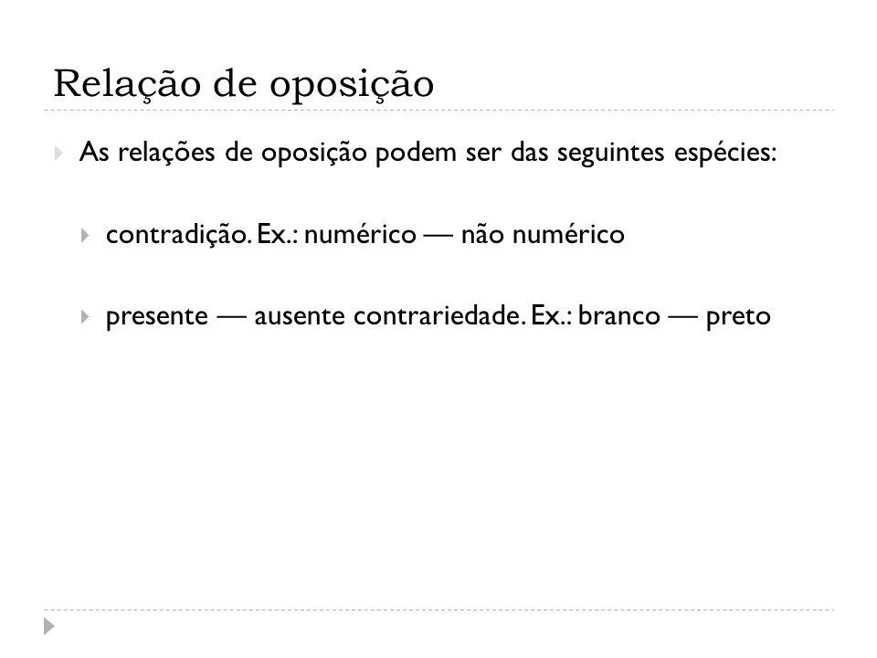 Relação de oposição As relações de oposição podem ser das seguintes espécies: contradição. Ex.: numérico não numérico presente ausente contrariedade.