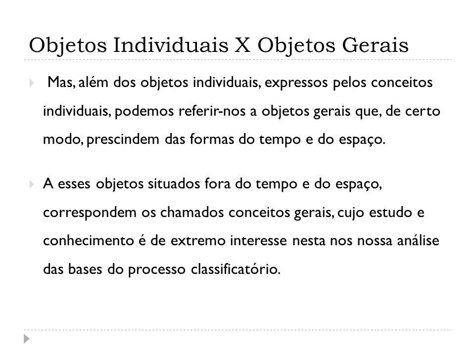 Objetos Individuais X Objetos Gerais Mas, além dos objetos individuais, expressos pelos conceitos individuais, podemos referir-nos a objetos gerais qu