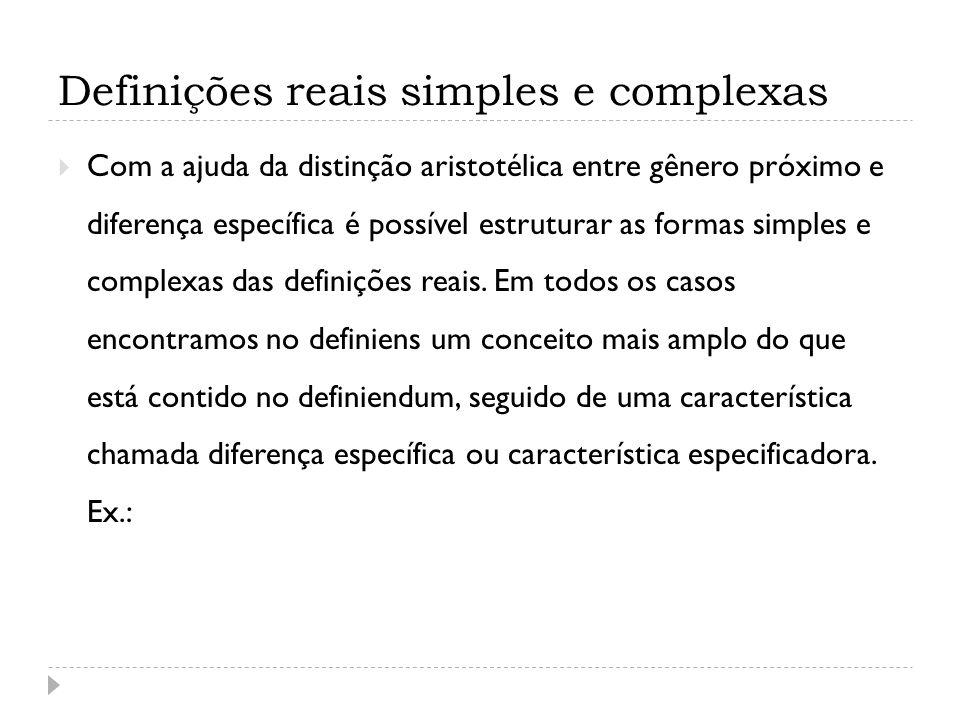 Definições reais simples e complexas Com a ajuda da distinção aristotélica entre gênero próximo e diferença específica é possível estruturar as formas