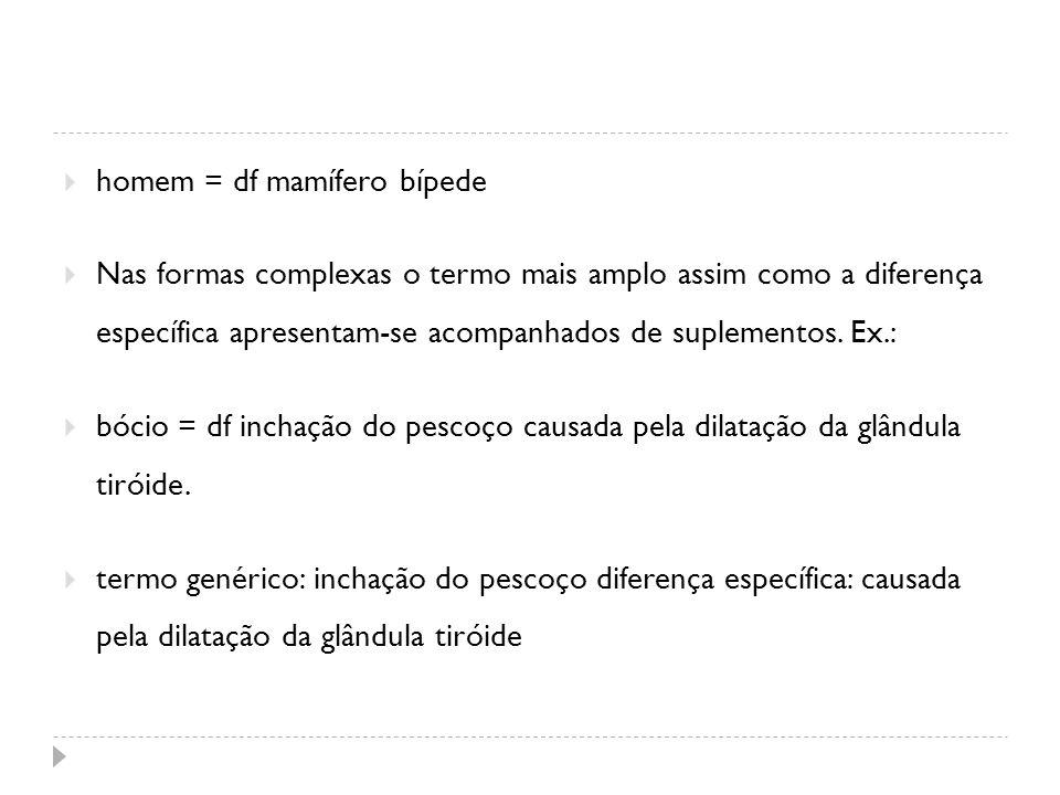 homem = df mamífero bípede Nas formas complexas o termo mais amplo assim como a diferença específica apresentam-se acompanhados de suplementos. Ex.: b