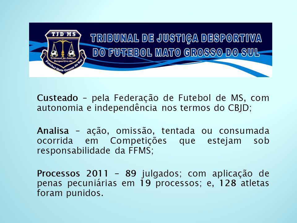 Custeado – pela Federação de Futebol de MS, com autonomia e independência nos termos do CBJD; Analisa – ação, omissão, tentada ou consumada ocorrida e