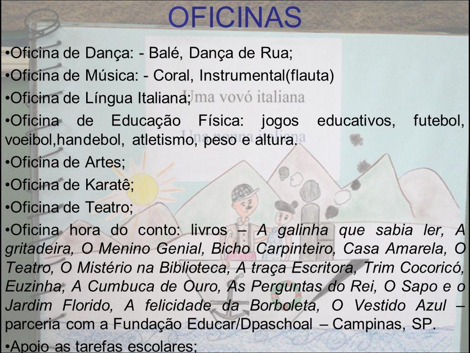 OFICINAS Oficina de Dança: - Balé, Dança de Rua; Oficina de Música: - Coral, Instrumental(flauta) Oficina de Língua Italiana; Oficina de Educação Físi