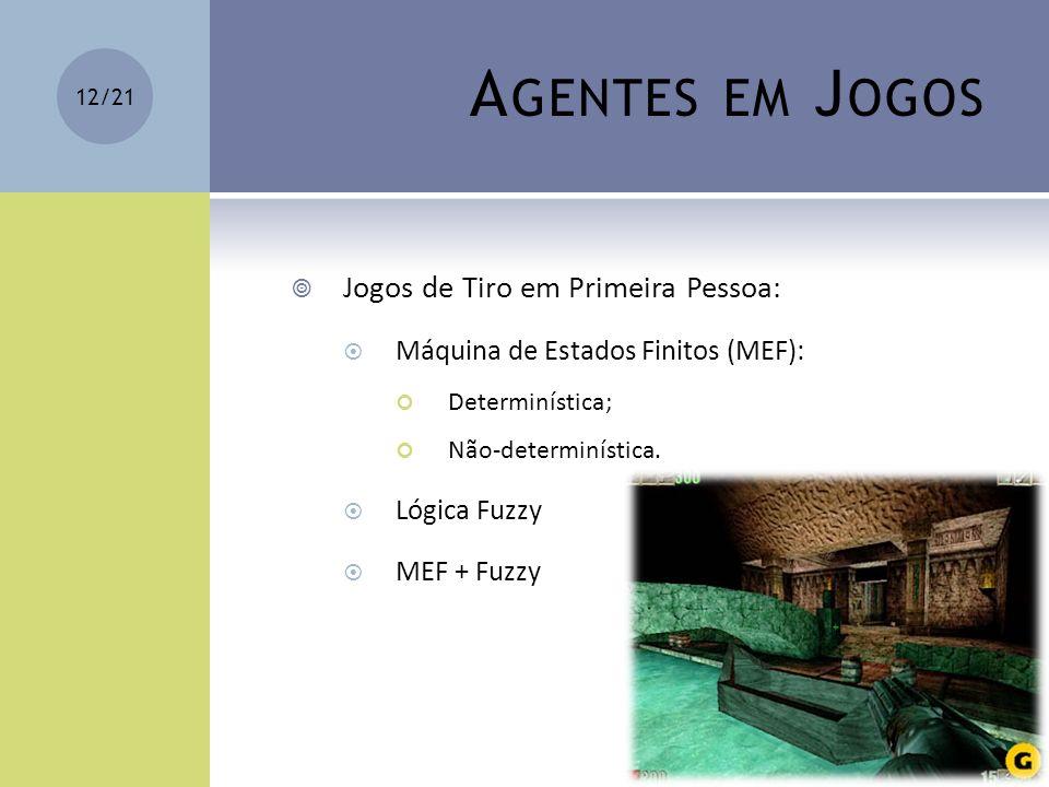 A GENTES EM J OGOS Jogos de Tiro em Primeira Pessoa: Máquina de Estados Finitos (MEF): Determinística; Não-determinística. Lógica Fuzzy MEF + Fuzzy 12
