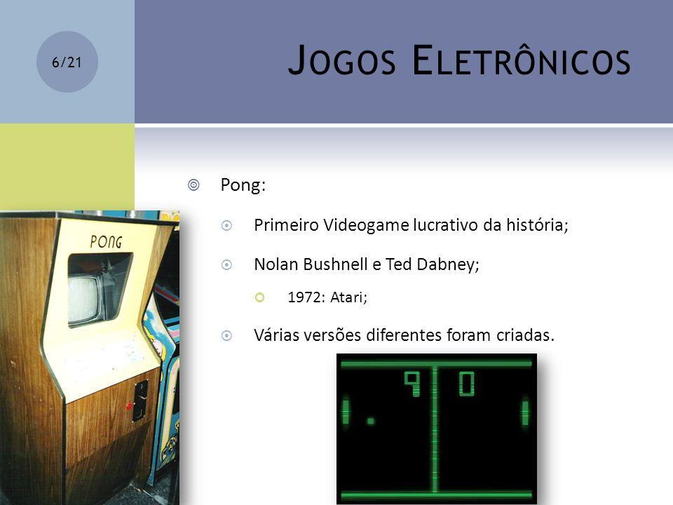 J OGOS E LETRÔNICOS Pong: Primeiro Videogame lucrativo da história; Nolan Bushnell e Ted Dabney; 1972: Atari; Várias versões diferentes foram criadas.