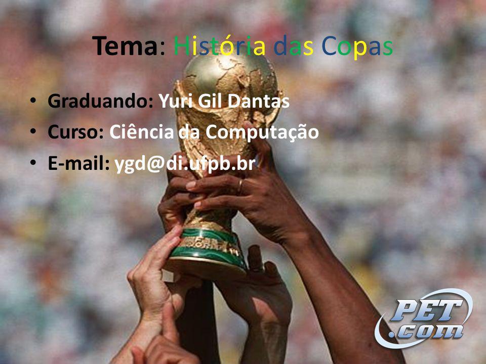 Tema: História das Copas Graduando: Yuri Gil Dantas Curso: Ciência da Computação E-mail: ygd@di.ufpb.br