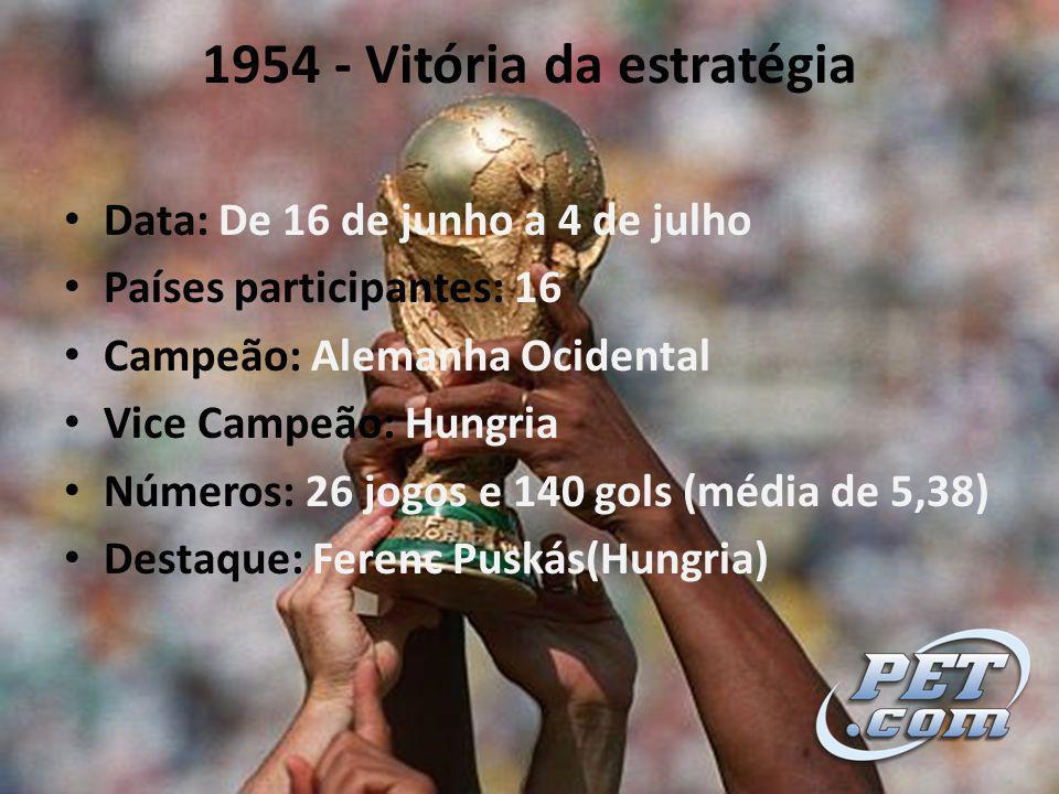 1954 - Vitória da estratégia Data: De 16 de junho a 4 de julho Países participantes: 16 Campeão: Alemanha Ocidental Vice Campeão: Hungria Números: 26 jogos e 140 gols (média de 5,38) Destaque: Ferenc Puskás(Hungria)