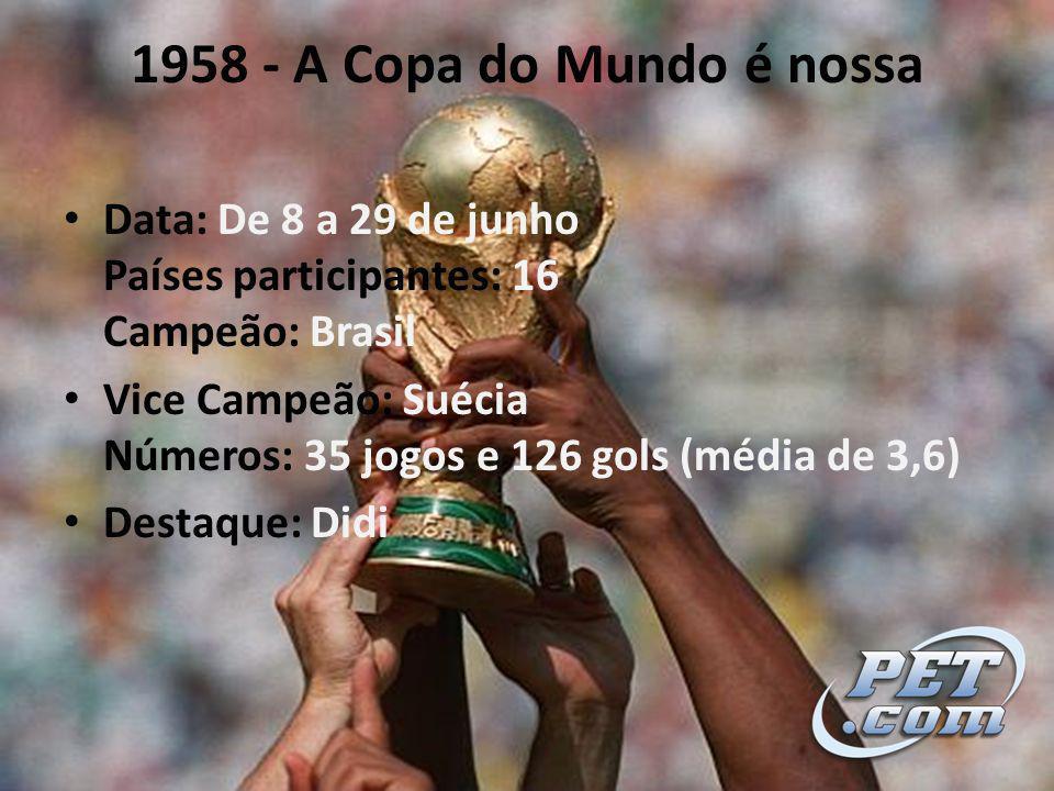 1958 - A Copa do Mundo é nossa Data: De 8 a 29 de junho Países participantes: 16 Campeão: Brasil Vice Campeão: Suécia Números: 35 jogos e 126 gols (média de 3,6) Destaque: Didi
