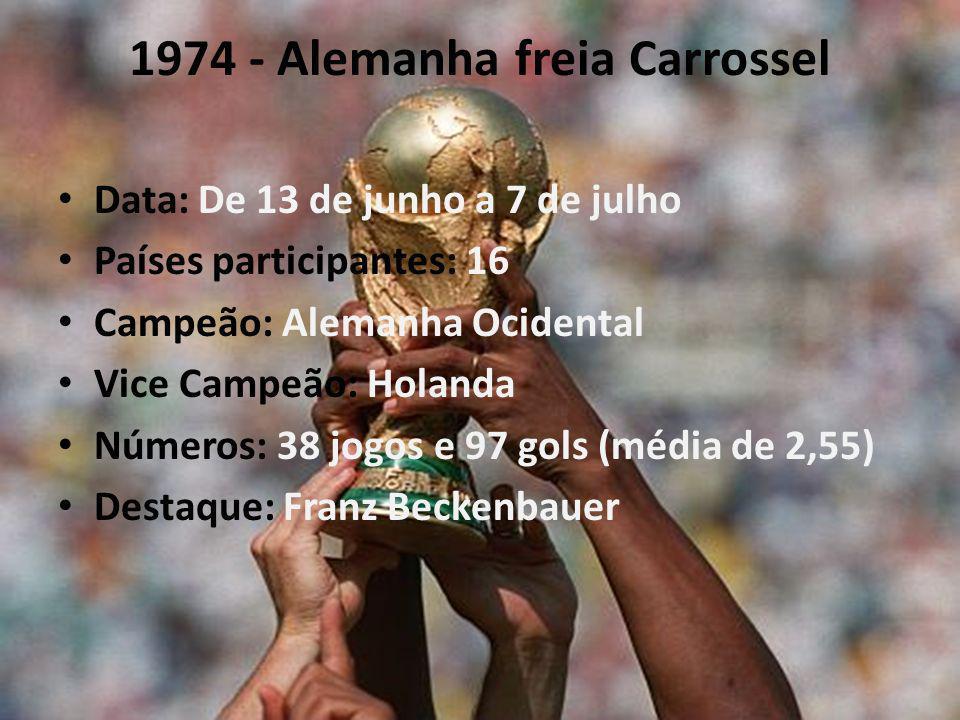 1974 - Alemanha freia Carrossel Data: De 13 de junho a 7 de julho Países participantes: 16 Campeão: Alemanha Ocidental Vice Campeão: Holanda Números: 38 jogos e 97 gols (média de 2,55) Destaque: Franz Beckenbauer