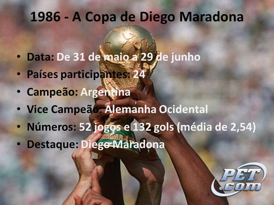 1986 - A Copa de Diego Maradona Data: De 31 de maio a 29 de junho Países participantes: 24 Campeão: Argentina Vice Campeão: Alemanha Ocidental Números: 52 jogos e 132 gols (média de 2,54) Destaque: Diego Maradona