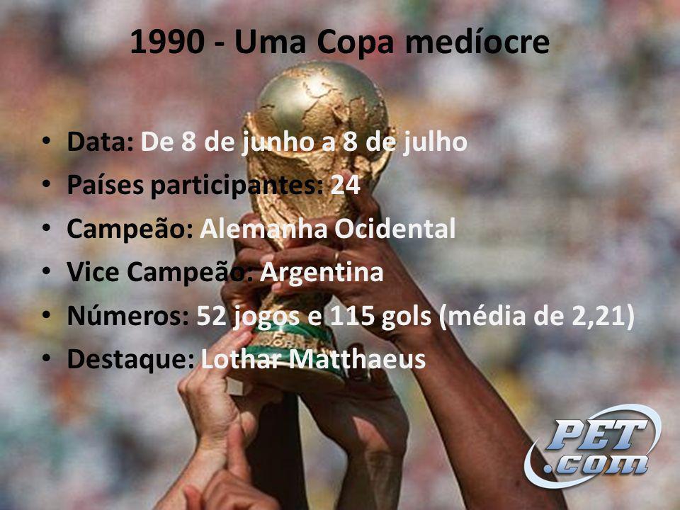 1990 - Uma Copa medíocre Data: De 8 de junho a 8 de julho Países participantes: 24 Campeão: Alemanha Ocidental Vice Campeão: Argentina Números: 52 jogos e 115 gols (média de 2,21) Destaque: Lothar Matthaeus