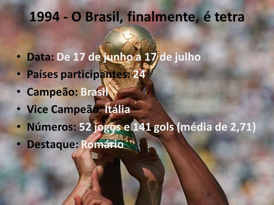 1994 - O Brasil, finalmente, é tetra Data: De 17 de junho a 17 de julho Países participantes: 24 Campeão: Brasil Vice Campeão: Itália Números: 52 jogos e 141 gols (média de 2,71) Destaque: Romário