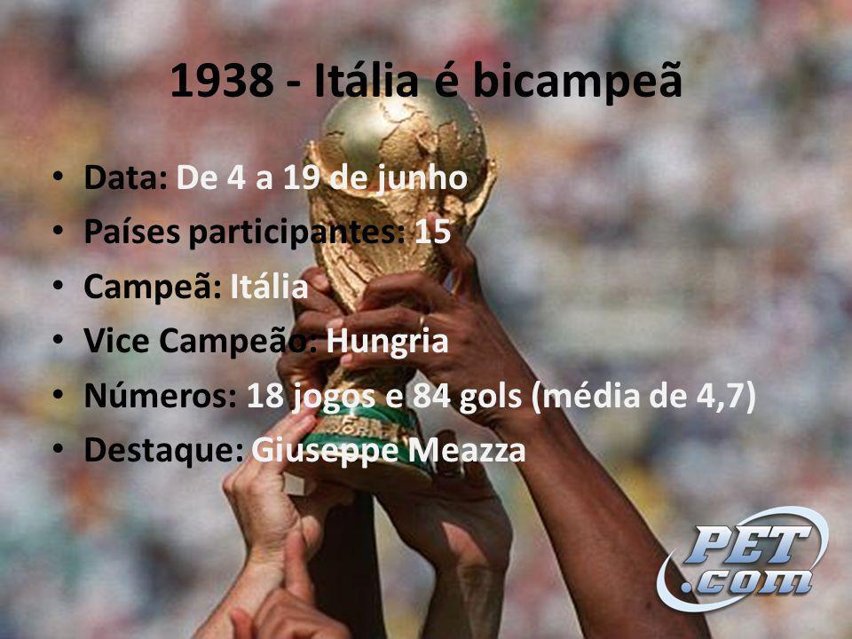 1938 - Itália é bicampeã Data: De 4 a 19 de junho Países participantes: 15 Campeã: Itália Vice Campeão: Hungria Números: 18 jogos e 84 gols (média de 4,7) Destaque: Giuseppe Meazza