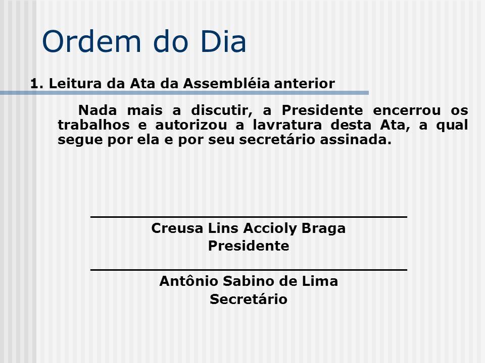Ordem do Dia 1. Leitura da Ata da Assembléia anterior Nada mais a discutir, a Presidente encerrou os trabalhos e autorizou a lavratura desta Ata, a qu