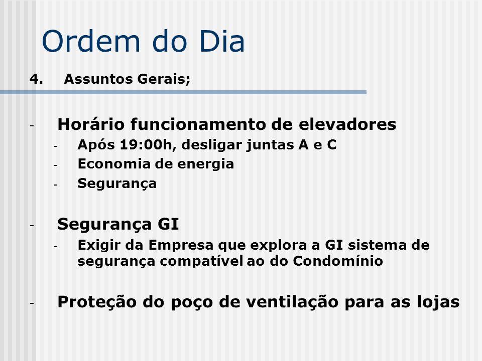 Ordem do Dia 4. Assuntos Gerais; - Horário funcionamento de elevadores - Após 19:00h, desligar juntas A e C - Economia de energia - Segurança - Segura