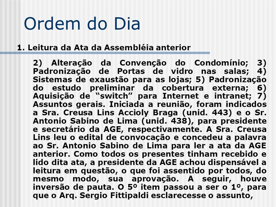 Ordem do Dia 1. Leitura da Ata da Assembléia anterior 2) Alteração da Convenção do Condomínio; 3) Padronização de Portas de vidro nas salas; 4) Sistem