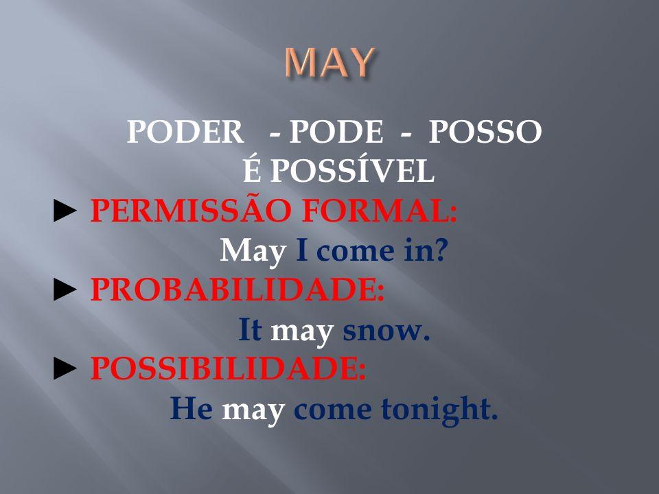 PODIA - PODE - É POSSÍVEL PERMISSÃO FORMAL NO PASSADO: Might I come in.