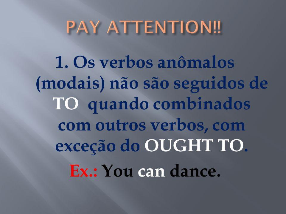 Não tem infinitivo Não tem conjugação regular Tem a mesma forma para todas as pessoas Ex.: I can dance./He can dance.