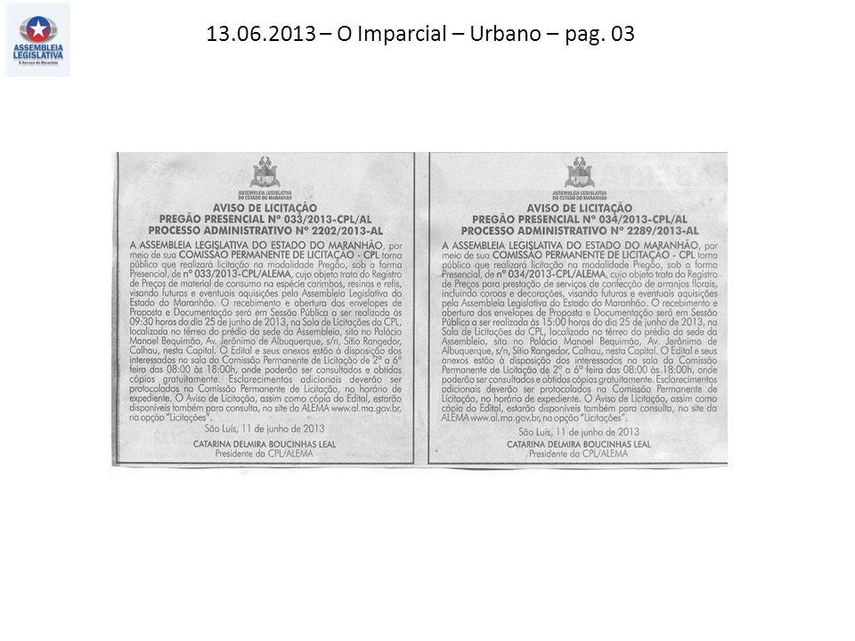 13.06.2013 – O Imparcial – Urbano – pag. 03