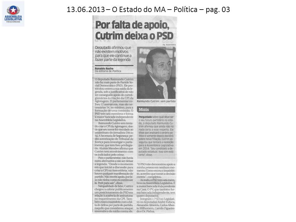 13.06.2013 – Jornal Pequeno – Política – pag. 03